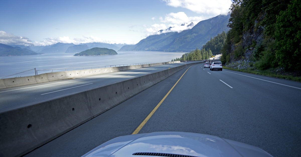 Driving on the Sea-to-Sky Highway from Vancouver to Whistler