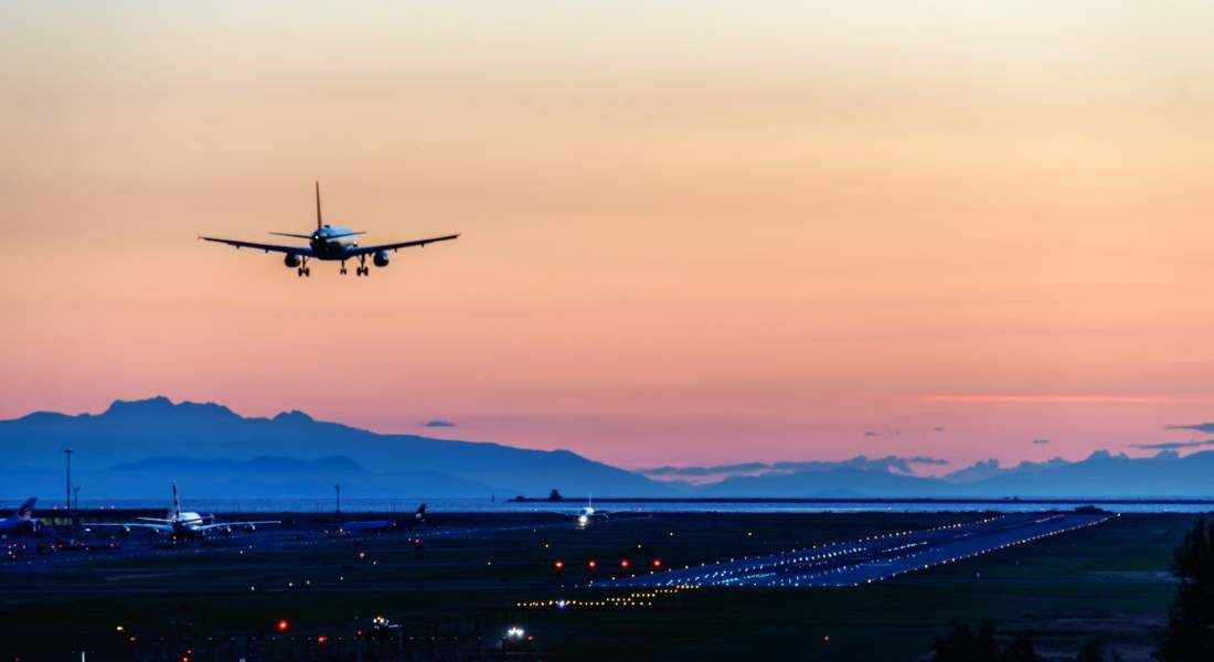Plane on Final Approach at Vancouver Airport (YVR)